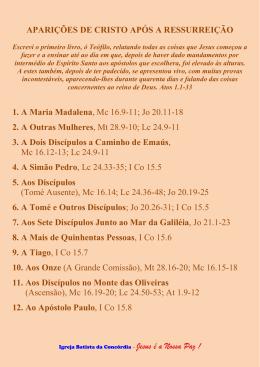 APARIÇÕES DE CRISTO APÓS A RESSURREIÇÃO 1. A Maria