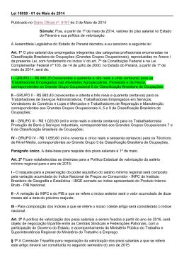 Lei 18059 - 01 de Maio de 2014 Publicado no Diário Oficial nº. 9197