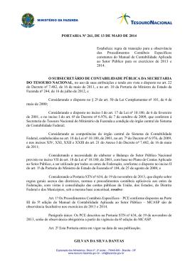 PORTARIA Nº 261, DE 13 DE MAIO DE 2014 Estabelece