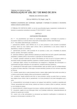 RESOLUÇÃO Nº 259, DE 7 DE MAIO DE 2014