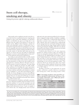 Stem cell therapy, smoking and obesity