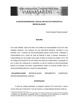 A DISCRICIONARIEDADE JUDICIAL EM FACE DO PRINCÍPIO DA