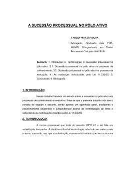 A SUCESSÃO PROCESSUAL NO PÓLO ATIVO