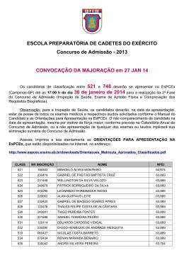 2013 CONVOCAÇÃO DA MAJORAÇÃO em 27 JAN 14