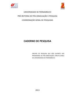 Caderno de Pesquisa 2013