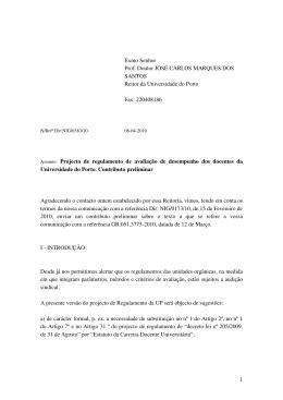 Projecto de regulamento de avaliação de desempenho dos