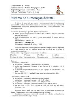 Sistema de numeração decimal - Colégio Militar de Curitiba