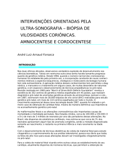 biópsia de vilosidades coriônicas. amniocentese e cordocentese
