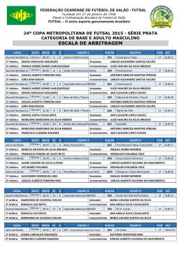 ESCALA DE ARBITRAGEM - Federação Cearense de Futsal
