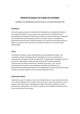 PROPOSTA INICIAL DE PLANO DE GOVERNO