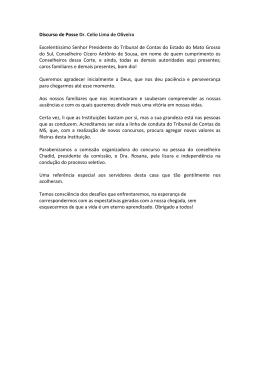 Discurso de Posse Dr. Celio Lima de Oliveira - TCE