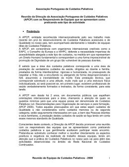 Reunio da Direco da Associao Portuguesa de Cuidados