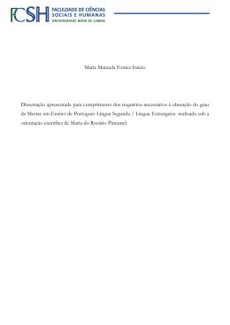 Maria Manuela Fontes Inácio Dissertação apresentada para