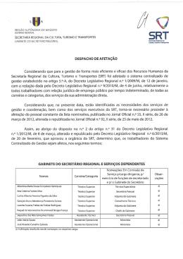 Despacho de afetação - Secretaria Regional da Economia, Turismo