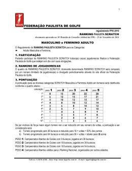 REGULAMENTO do Ranking Paulista SCRATCH MASCULINO e