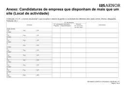 Anexo: Candidaturas de empresa que disponham de mais que um