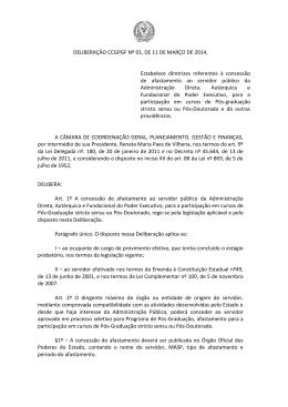 Deliberação CCGPGF, Nº 01, 11 de março de 2014