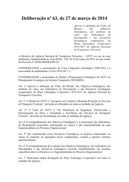 Deliberação nº 63, de 27 de março de 2014