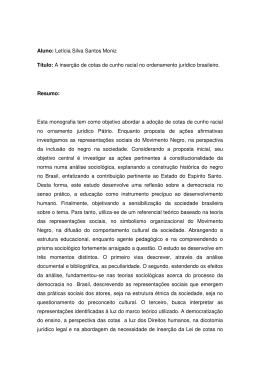 Aluno: Letícia Silva Santos Moniz Título: A inserção