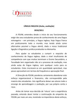 LÍNGUA INGLESA (Aulas, avaliação)