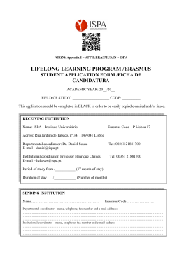 lifelong learning program /erasmus student application form