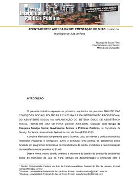 APONTAMENTOS ACERCA DA IMPLEMENTAÇÃO DO SUAS