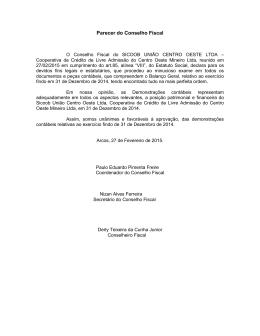 Parecer do Conselho Fiscal - Sicoob União Centro Oeste