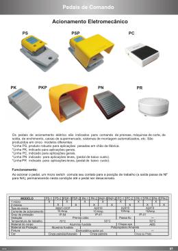 Os pedais de acionamento elétrico são indicados para comando de