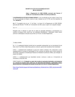 DECRETO Nº 46.728, DE 23 DE MARÇO DE 2015 (MG de 24/03