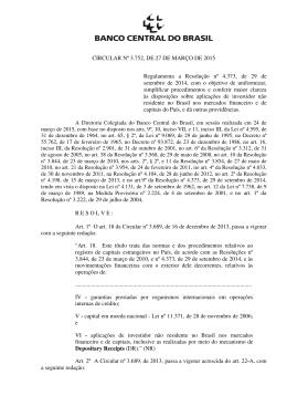 CIRCULAR Nº 3.752, DE 27 DE MARÇO DE 2015 Regulamenta a