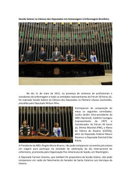 Sessão Solene na Câmara dos Deputados em homenagem à