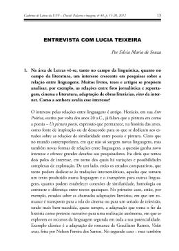 ENTrEviSTA com LuciA TEixEirA Por Silvia Maria de Souza