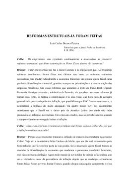 REFORMAS ESTRUTUAIS JÁ FORAM FEITAS