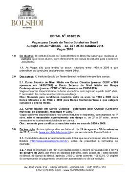 Clique aqui e confira o edital - Escola do Teatro Bolshoi no Brasil