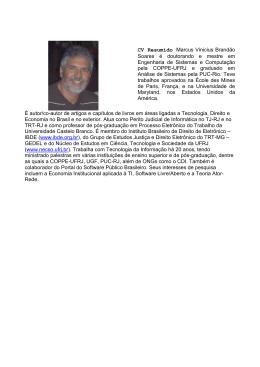 CV Resumido Marcus Vinicius Brandão Soares é doutorando e