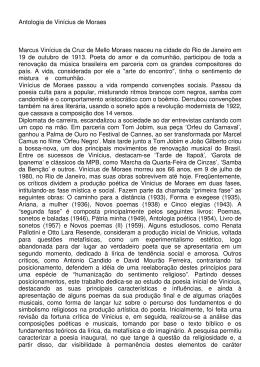 Antologia de Vinícius de Moraes Marcus Vinícius da Cruz de Mello