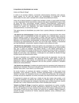 A importância da flexibilidade nas vendas Antonio de