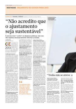 Entrevista - Conselho das Finanças Públicas