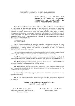 CALENDRIO DAS REUNIES E DATAS LIMITE PARA ENTREGA DE