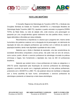 NOTA DE REPÚDIO - CRO-TO