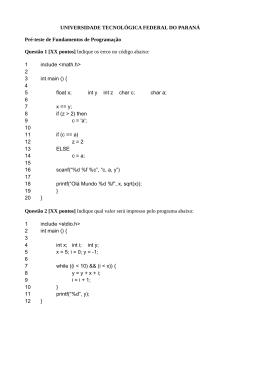 Pré-teste de Fundamentos de Programação