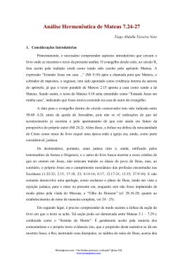 Análise Hermenêutica de Mateus 7.24-27
