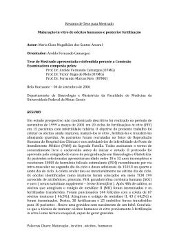 Resumo de Tese para Mestrado Maturação in vitro de oócitos