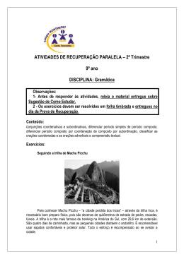 ATIVIDADES DE RECUPERAÇÃO PARALELA – 2º Trimestre 9º ano
