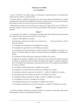Portaria nº 19/2005 - Banco de Cabo Verde