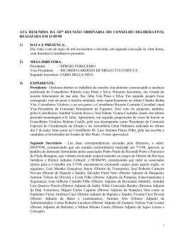 ATA RESUMIDA DA 347ª REUNIÃO ORDINÁRIA DO CONSELHO