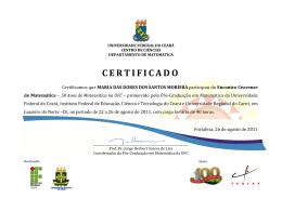 certificado - Departamento de Matemática da UFC