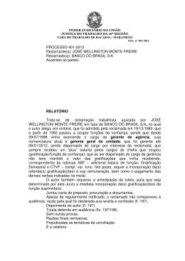 PROCESSO 401-2012 Reclamante(s) - Sindicato dos Bancários do