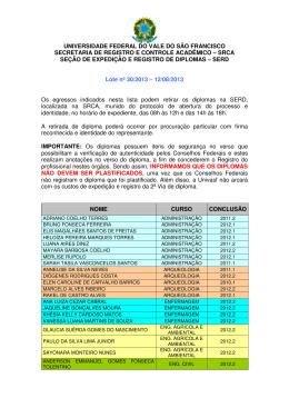 Lote nº 30/2013 - SRCA