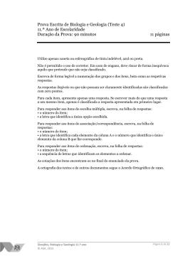 Prova Escrita de Biologia e Geologia (Teste 4) 11.º Ano de